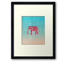 Whimsical Colorful Elephant Tribal Floral Paisley Framed Print