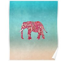 Whimsical Colorful Elephant Tribal Floral Paisley Poster