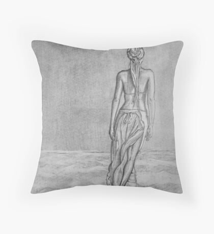 Lonely walk on the seashore Throw Pillow