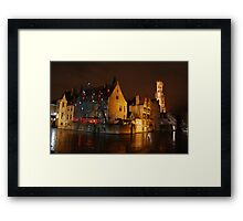 Bruges Canal By Night Framed Print