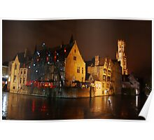 Bruges Canal By Night Poster