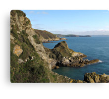 Cliffs in Cornwall near Mevagissey Canvas Print