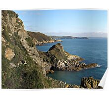 Cliffs in Cornwall near Mevagissey Poster