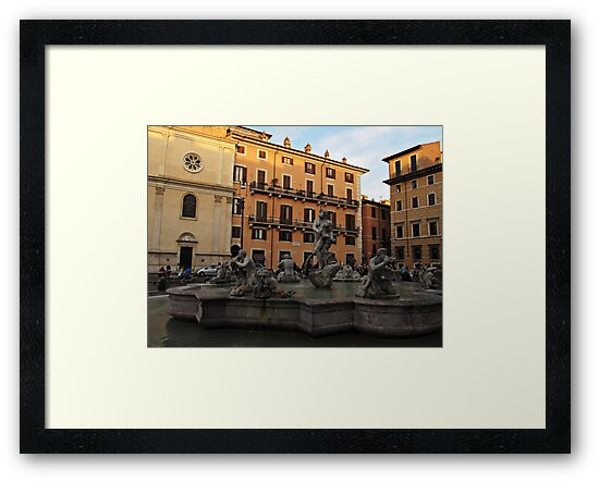 Piazza Navona with Fontana del Moro in Rome by kirilart