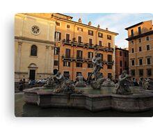 Piazza Navona with Fontana del Moro in Rome Canvas Print
