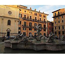 Piazza Navona with Fontana del Moro in Rome Photographic Print