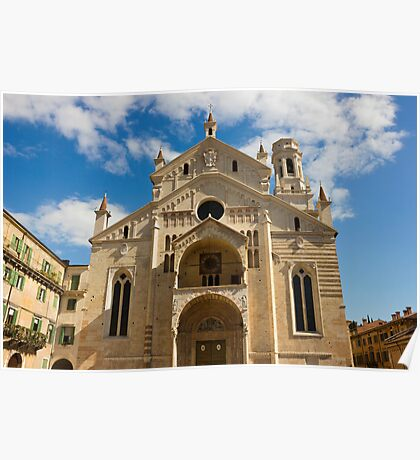 Verona Cathedral facade over blue sky with white clouds Poster
