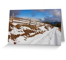 Rural Snowy Road in The Mountains Greeting Card
