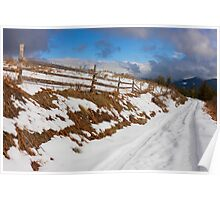Rural Snowy Road in The Mountains Poster