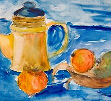 Still life with kettle and apples aquarelle by kirilart