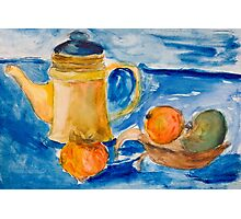 Still life with kettle and apples aquarelle Photographic Print