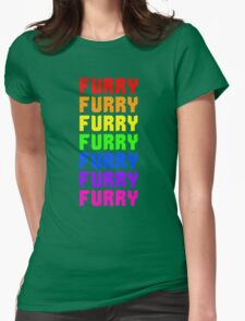 Rainbow Furry Pride Text Womens Fitted T-Shirt