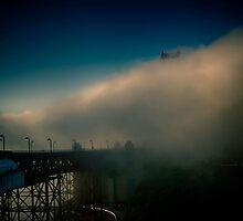 Golden Gate Bridge In Fog by JimmieDanger