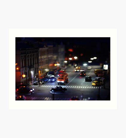 crosswalk at night Art Print