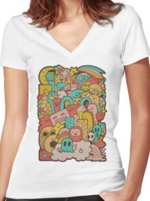 Doodleicious Women's Fitted V-Neck T-Shirt