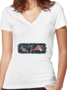 Eagles, Bear, Wolf, American Flag US Patriotic Women's Fitted V-Neck T-Shirt