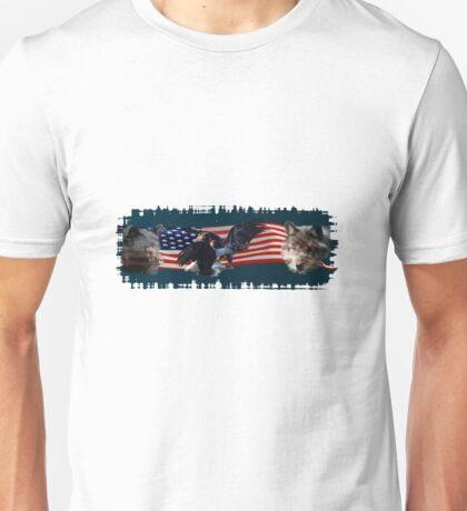 Eagles, Bear, Wolf, American Flag US Patriotic Unisex T-Shirt