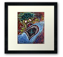 Zombie Shark Fight Framed Print