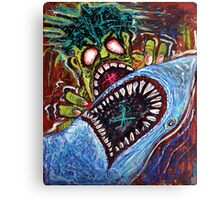 Zombie Shark Fight Canvas Print