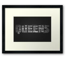 Queens NY Typography Text Framed Print