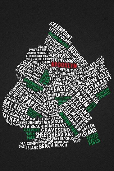 Brooklyn New York Typography Map by icoNYC