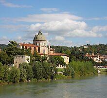 Church San Giorgio in Braida at River Adige by kirilart