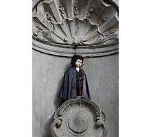 Manneken Pis in Brussels dressed as Dracula Photographic Print
