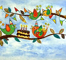 Happy Birdy Birthday by Lisa Frances Judd ~ QuirkyHappyArt