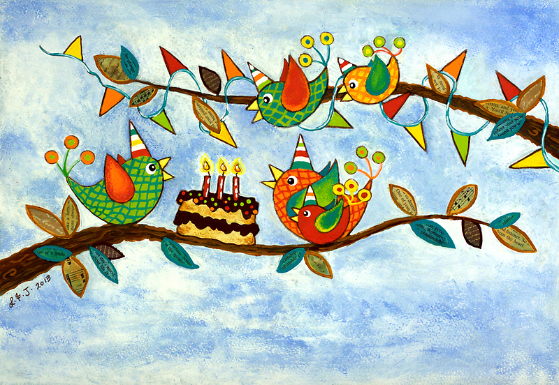 Happy Birdy Birthday by Lisa Frances Judd~QuirkyHappyArt