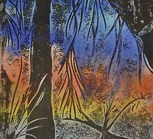 Printmaking (Collagraph): Willow Tree by Marion Chapman