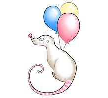 Celebration Rat With Balloons Photographic Print