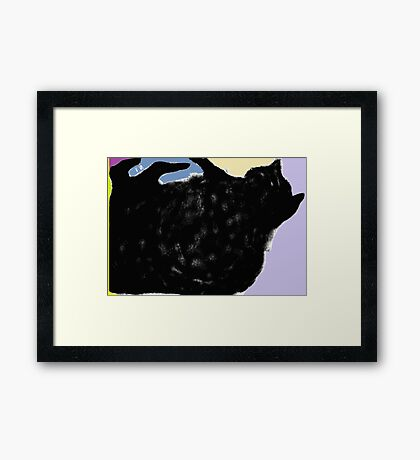 Cat, playing -(010413)- Digital art/mouse drawn. Program: Sketchy Framed Print