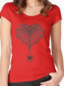 Gothic Spider Web Heart Women's Fitted Scoop T-Shirt
