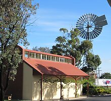 The Old Railway Station & Windmill, 'Kaniva' Vic. Aus. by Rita Blom