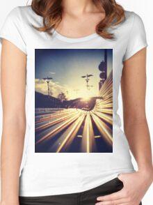 Good Morning Sunderland - Sunrise through a Bench Women's Fitted Scoop T-Shirt