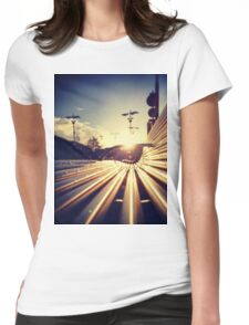 Good Morning Sunderland - Sunrise through a Bench Womens Fitted T-Shirt