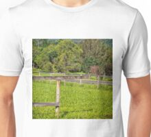 Broken fence on a rural property Unisex T-Shirt