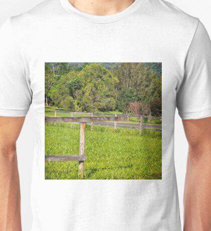 Broken fence on a rural property Unisex T-Shirt