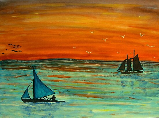 Sailing at sunset by George Hunter