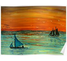 Sailing at sunset Poster