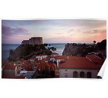 Dubrovnik Castle at Sunset Poster