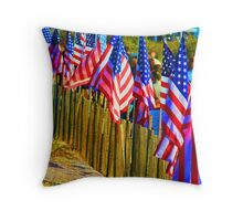 9-11 Flags on the Beach @ Pt. Lookout, NY USA Throw Pillow