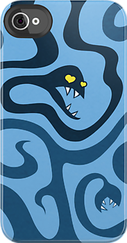 Funny Evil Cartoon Snakes In Love IPhone Case by Boriana Giormova