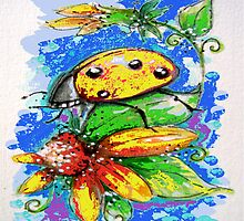Lady Bug Yellow and Sunflower by ApolloniaArt