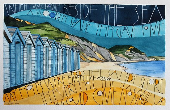 Charmouth Beach (looking to Golden Cap) by samcannonart
