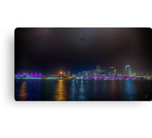 Miami Skyline with Goodyear Blimp Canvas Print