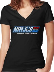 Ninjas. Ninjas EVERYWHERE. Women's Fitted V-Neck T-Shirt