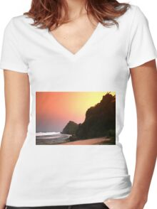 Colorful sunset  Women's Fitted V-Neck T-Shirt