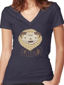 Friendly Beast Women's Fitted V-Neck T-Shirt
