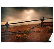 Fence Framing Teton Mountains Poster